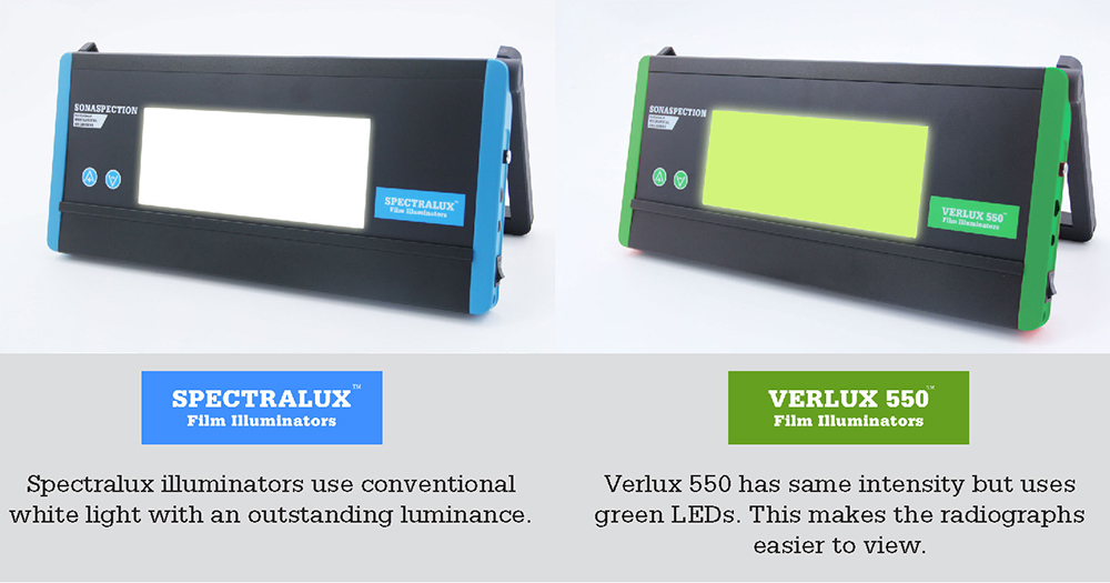 Spectralux illuminators use conventional white light with an outstanding luminance. Verlux 550 has same intensity but uses green LEDs. This makes the radiographs easier to view.